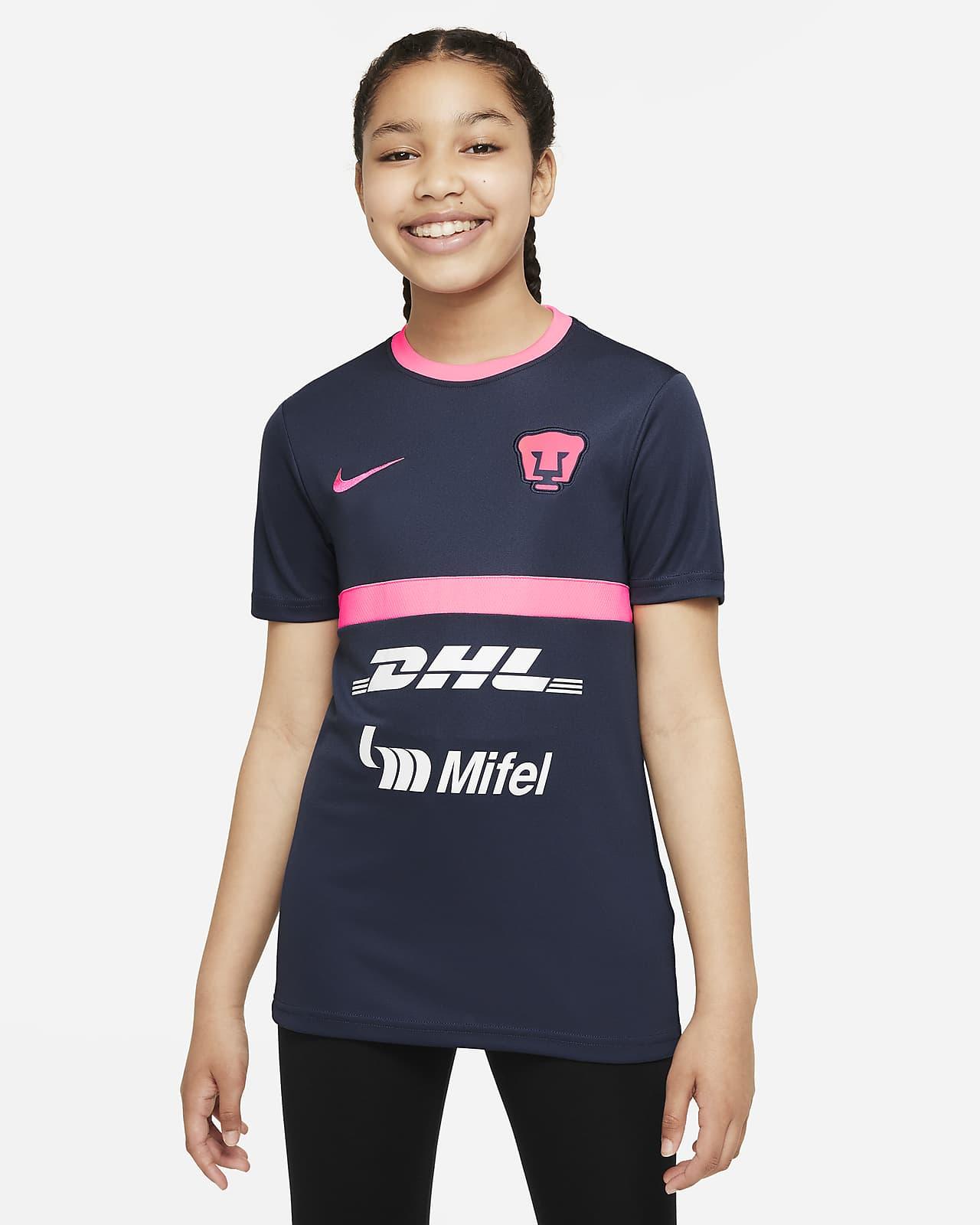 Playera de fútbol de manga corta Nike Dri-FIT para niños talla grande Pumas UNAM Academy Pro