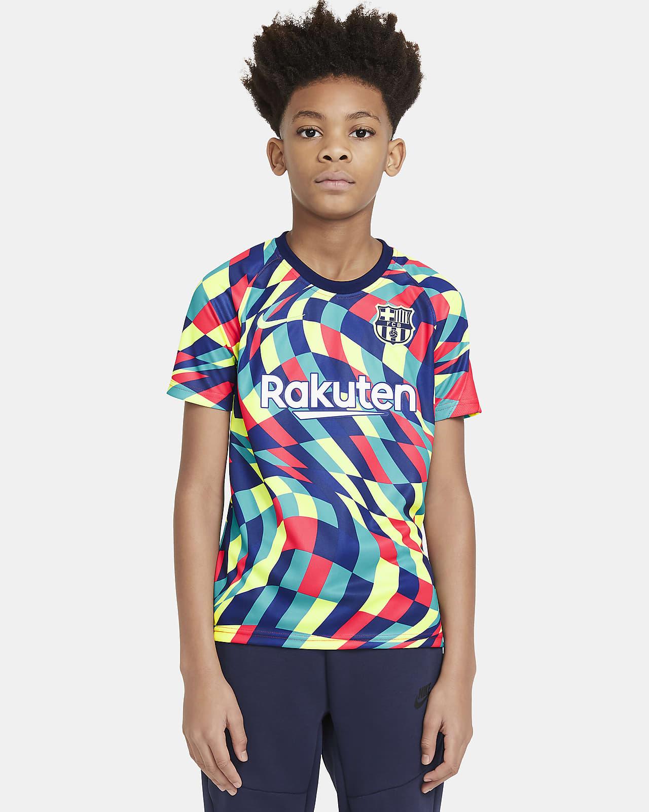 Haut de football à manches courtes d'avant-match FC Barcelona pour Enfant plus âgé