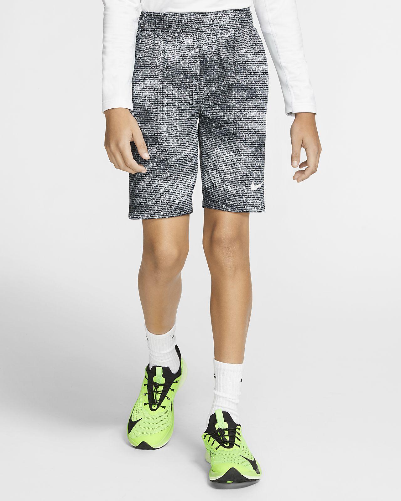 Nike Dri-FIT mønstret treningsshorts til store barn (gutt)