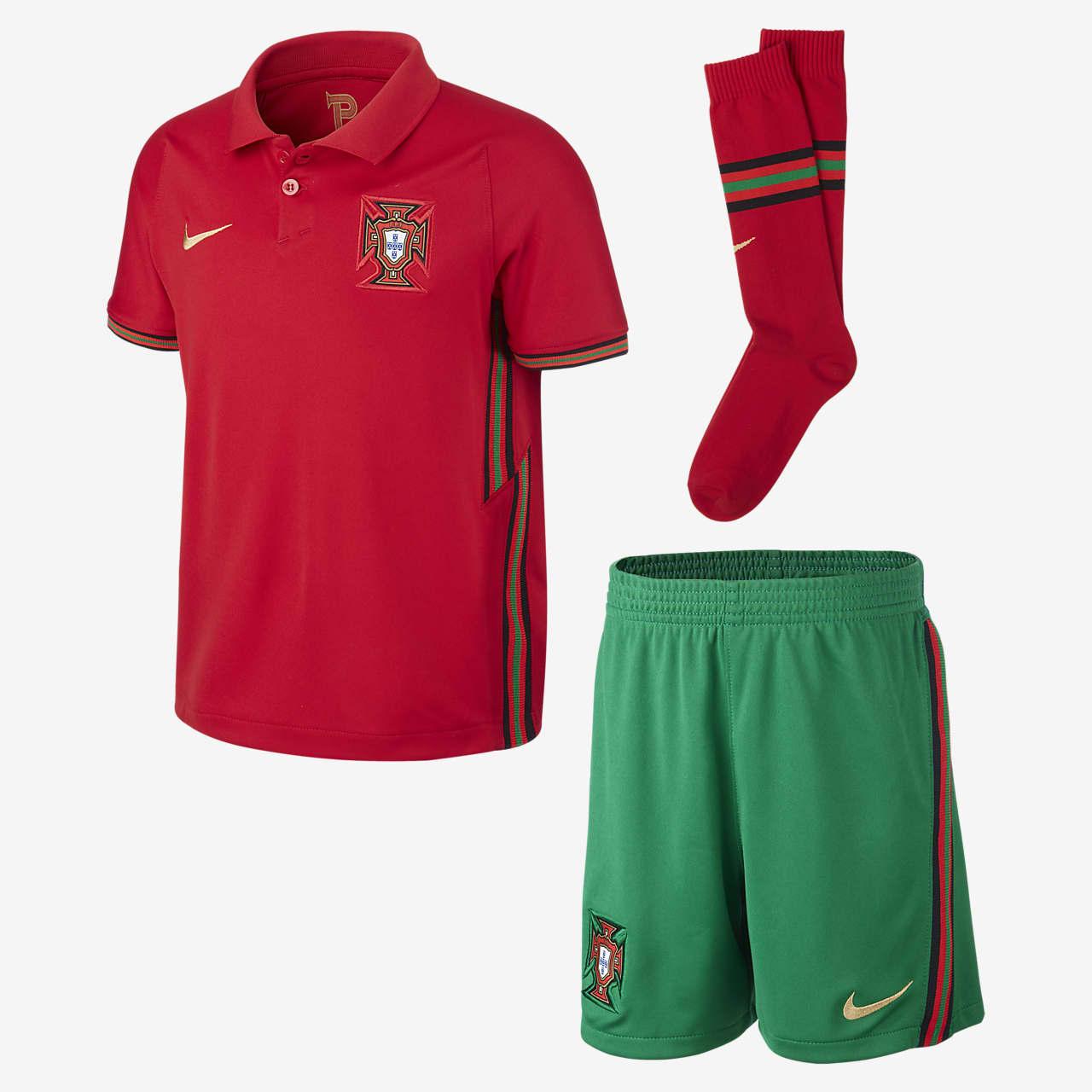 Kit de fútbol de local para niños talla pequeña Portugal 2020