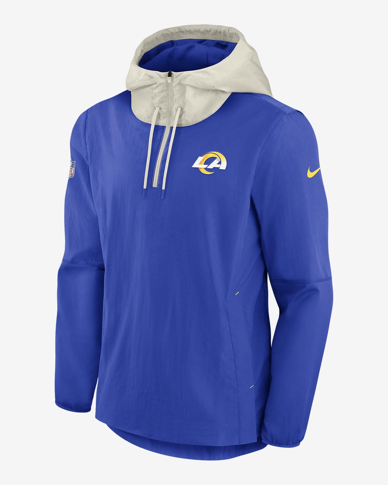 Chamarra con cierre de 1/4 para hombre Nike Sideline Player (NFL Los Angeles Rams)