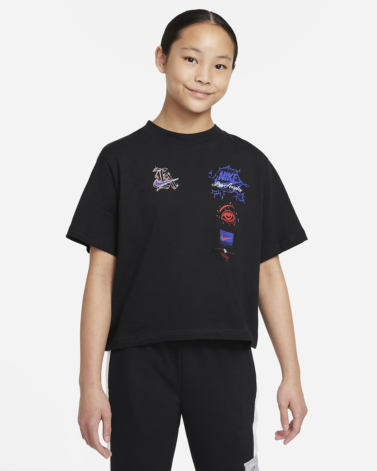 Playera cuadrada para niña talla grande Nike Sportswear