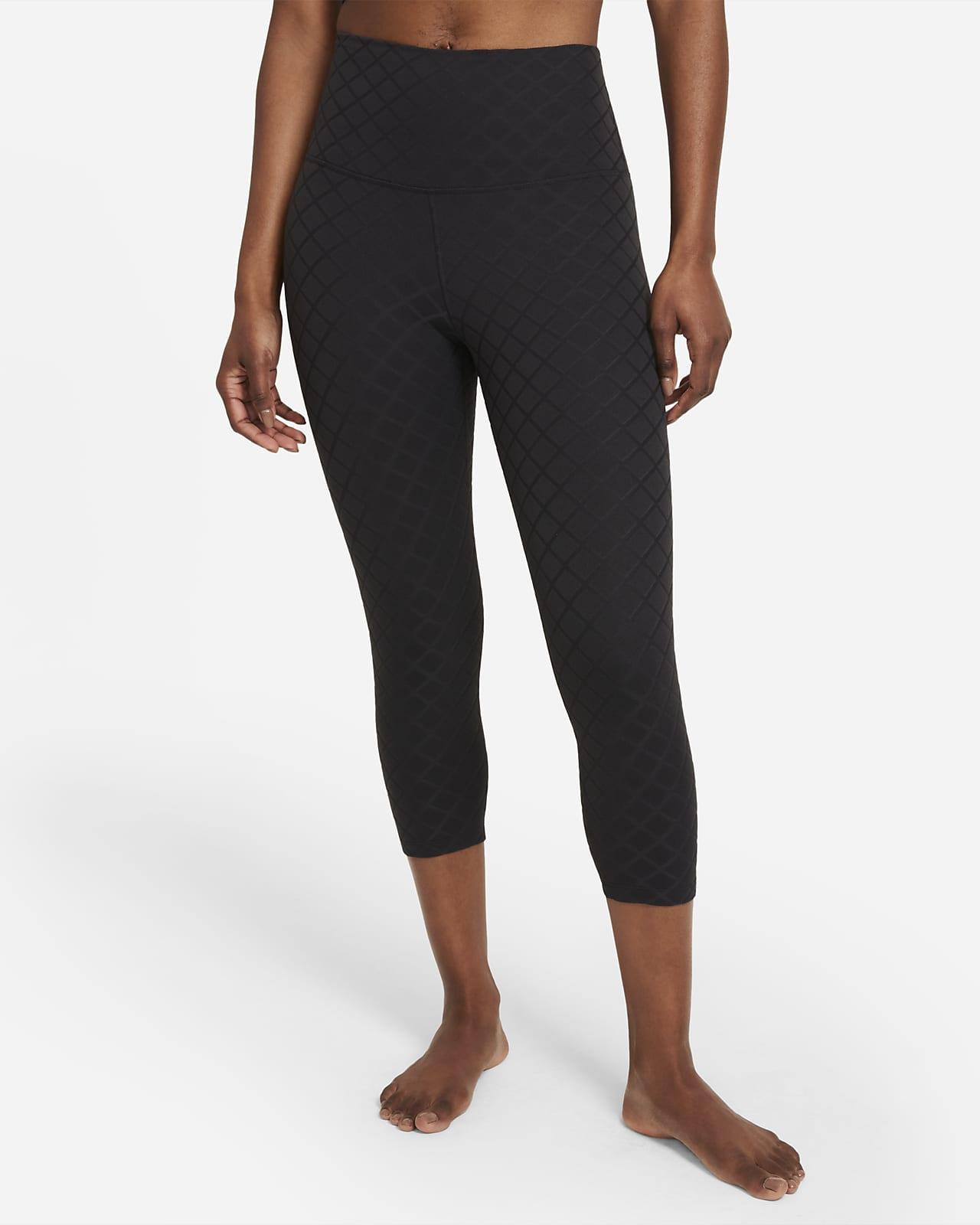 เลกกิ้งผู้หญิง 3 ส่วนผ้า Jacquard เอวสูง Nike Yoga Luxe