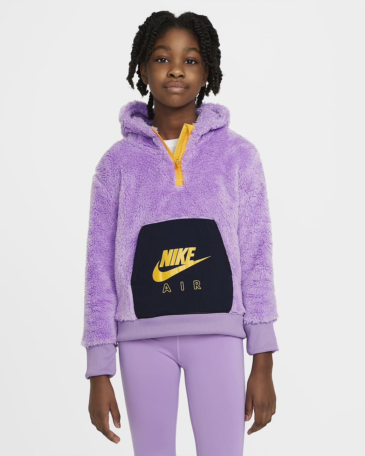 Μπλούζα με κουκούλα από ύφασμα Sherpa Nike Air για μεγάλα κορίτσια