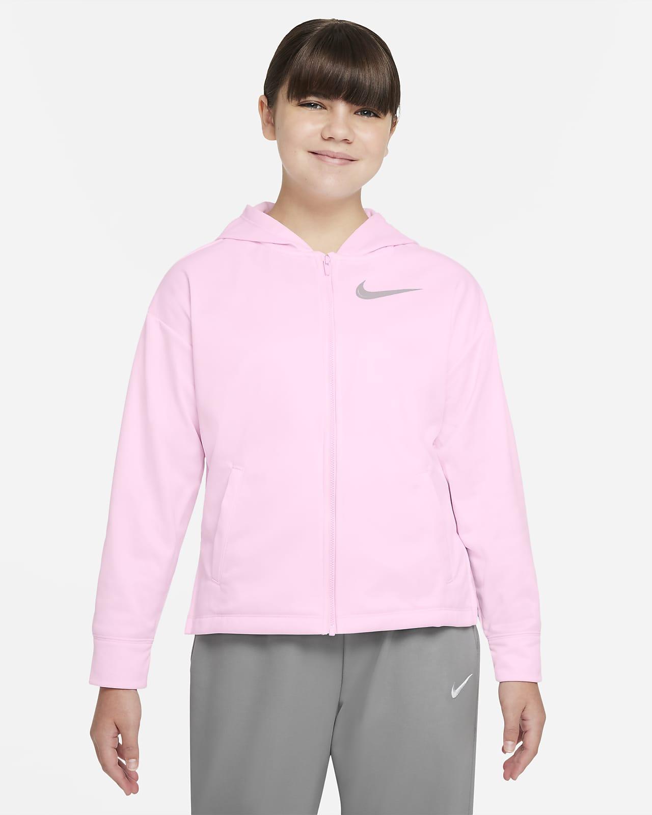 Sudadera de entrenamiento con gorro de cierre completo para niña talla grande Nike Therma-FIT