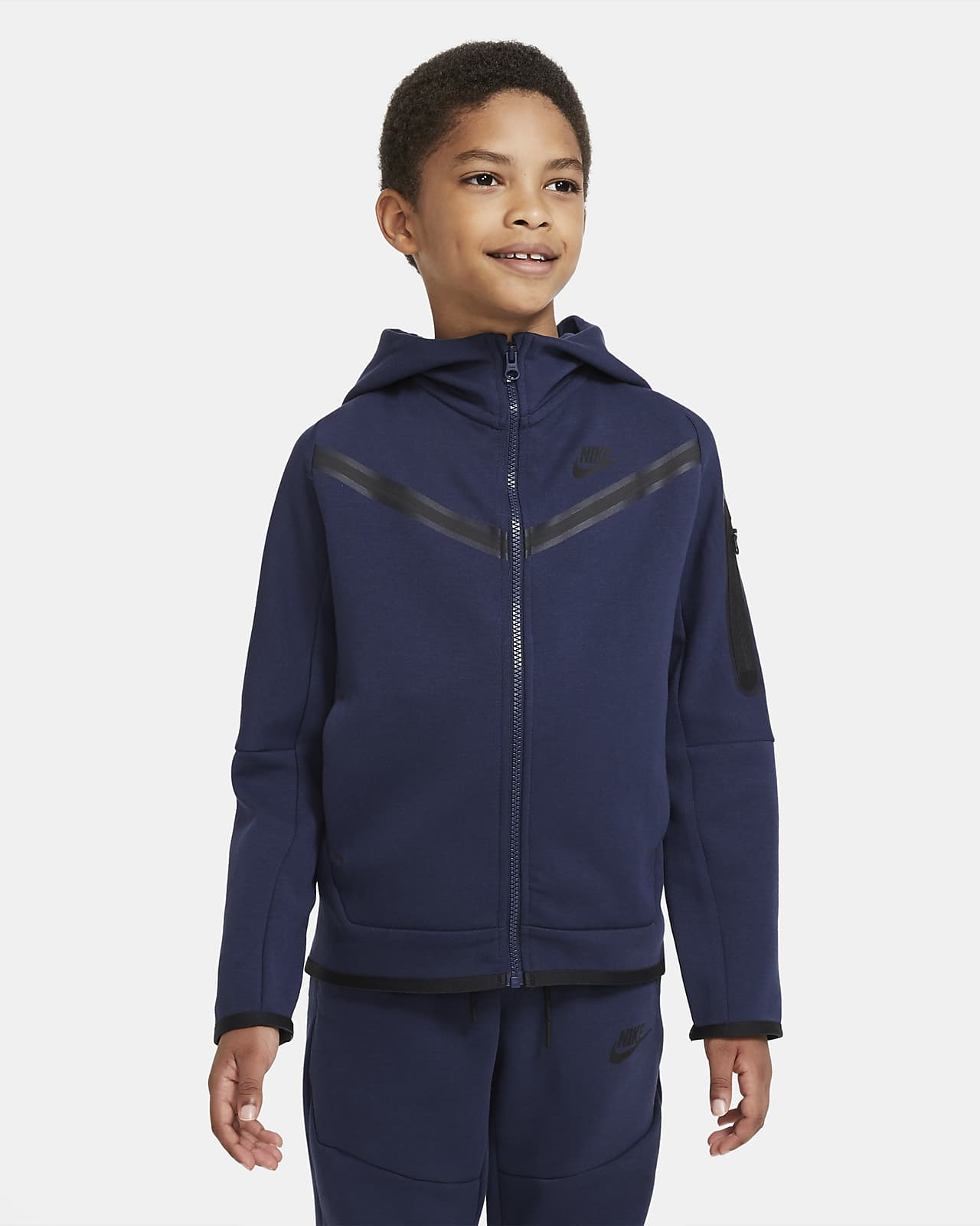 Μπλούζα με κουκούλα και φερμουάρ Nike Sportswear Tech Fleece για μεγάλα αγόρια