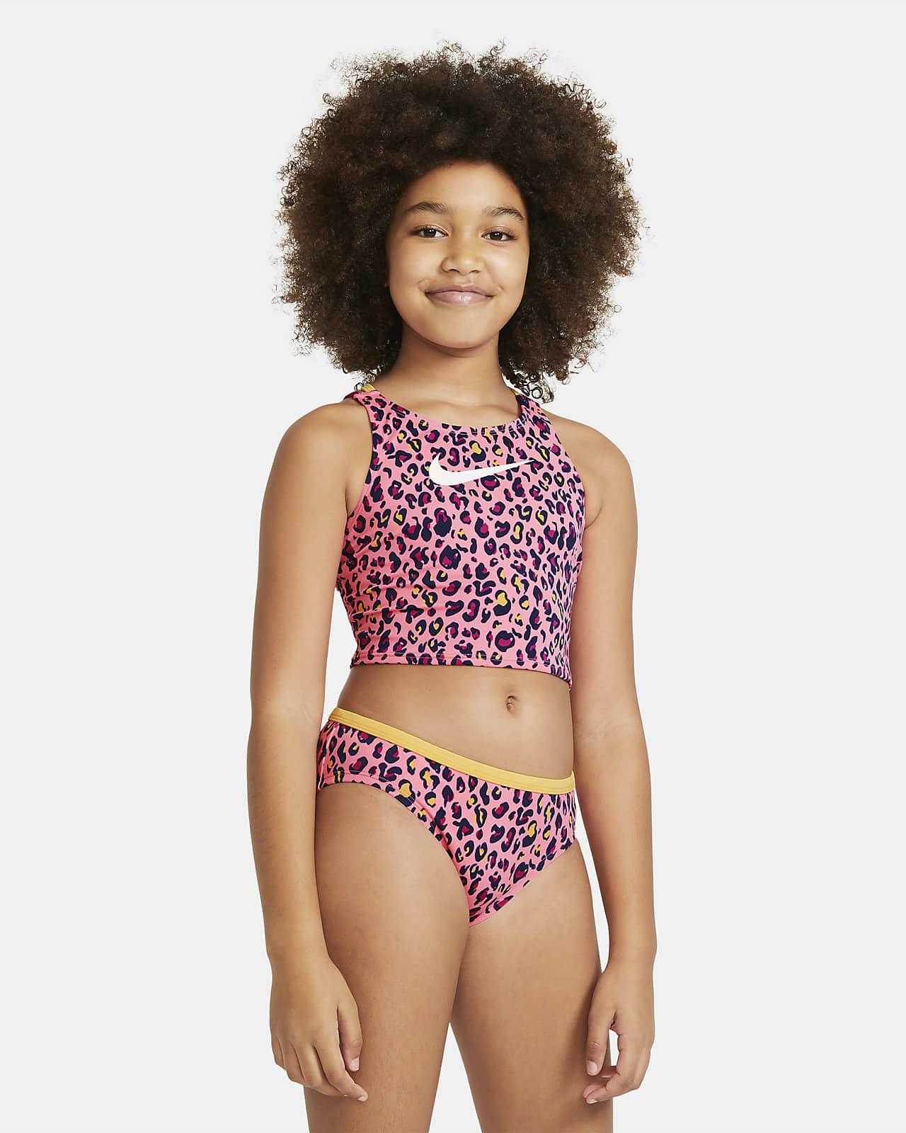 Plavecká souprava se středně vysokým pasem Nike advojitými zkříženými ramínky pro větší děti (dívky)