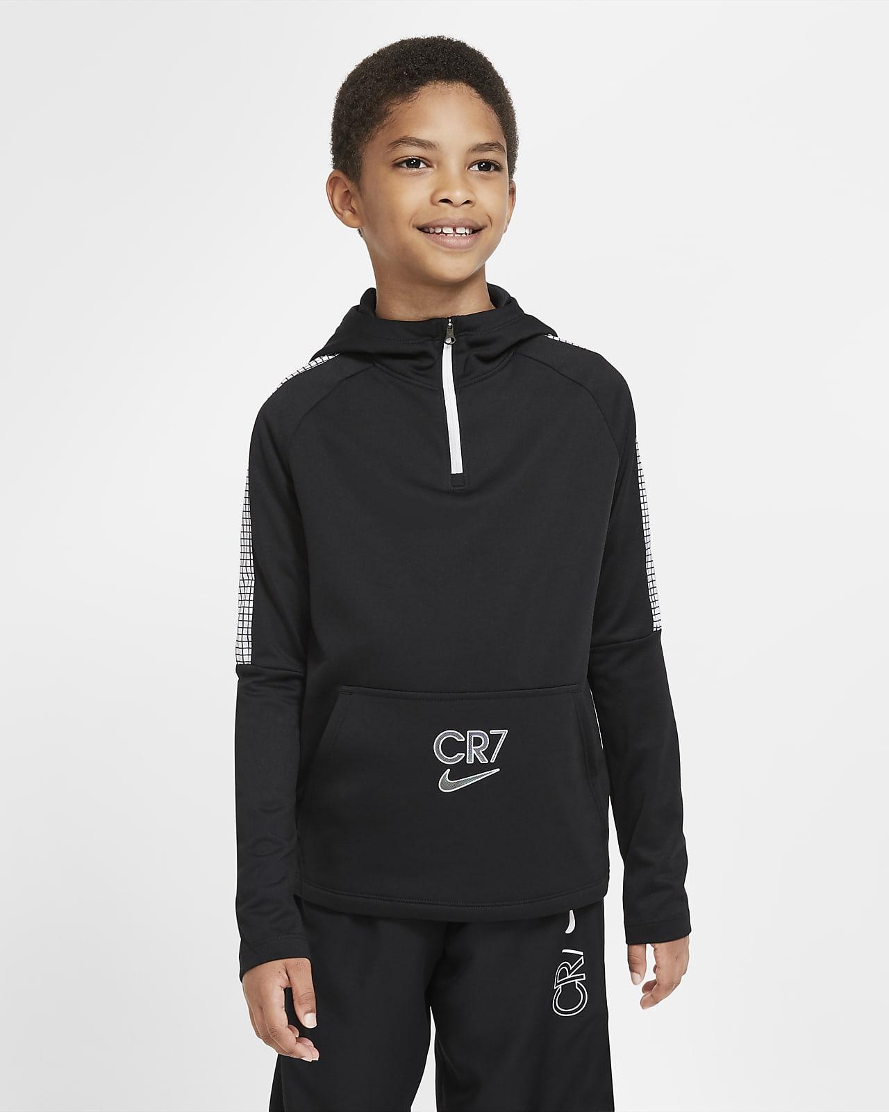 Nike Dri-FIT CR7-fodboldhættetrøje med kvart lynlås til store børn