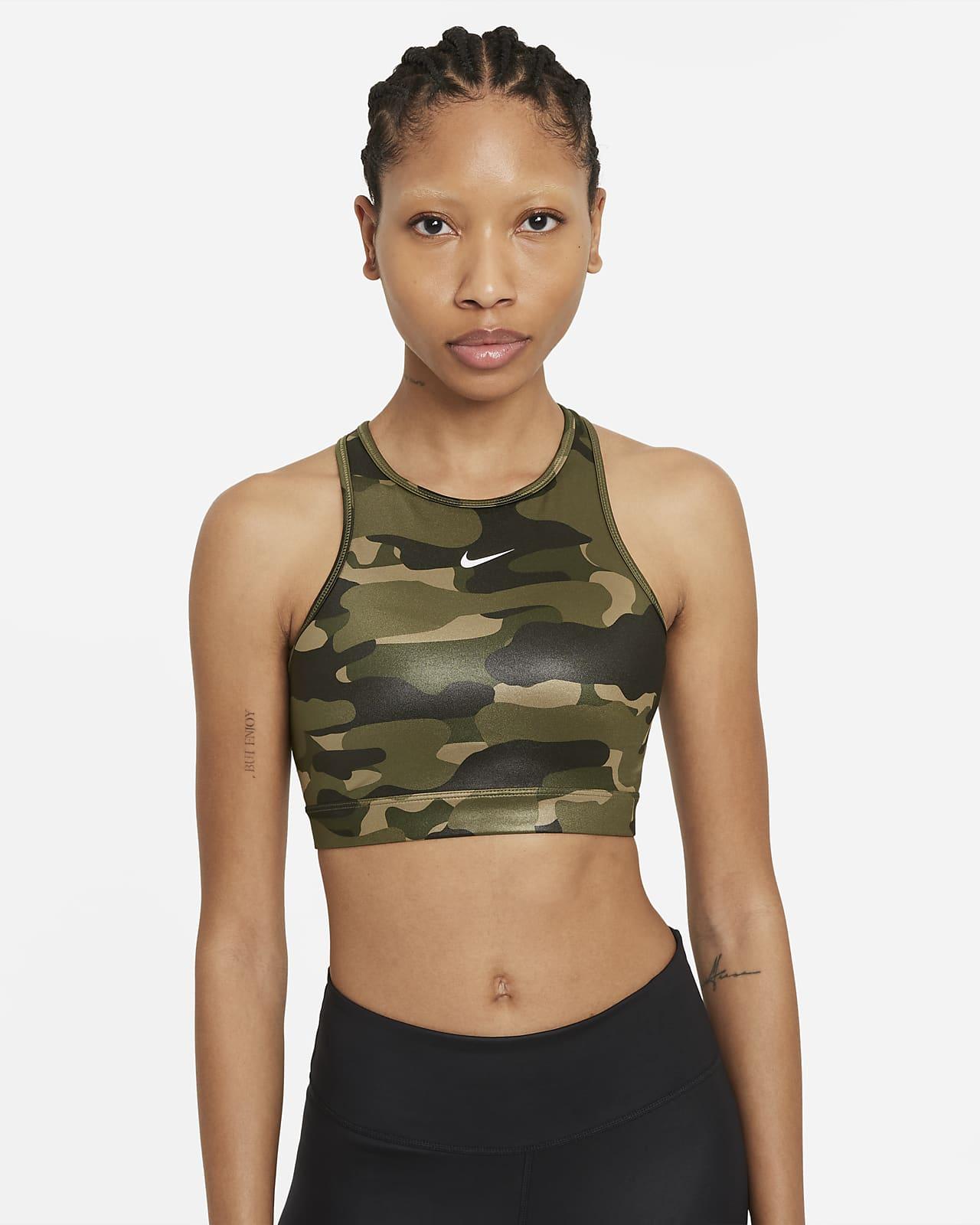 Nike Dri-FIT Swoosh sports-BH med middels støtte, innlegg i ett stykke og høy hals til dame