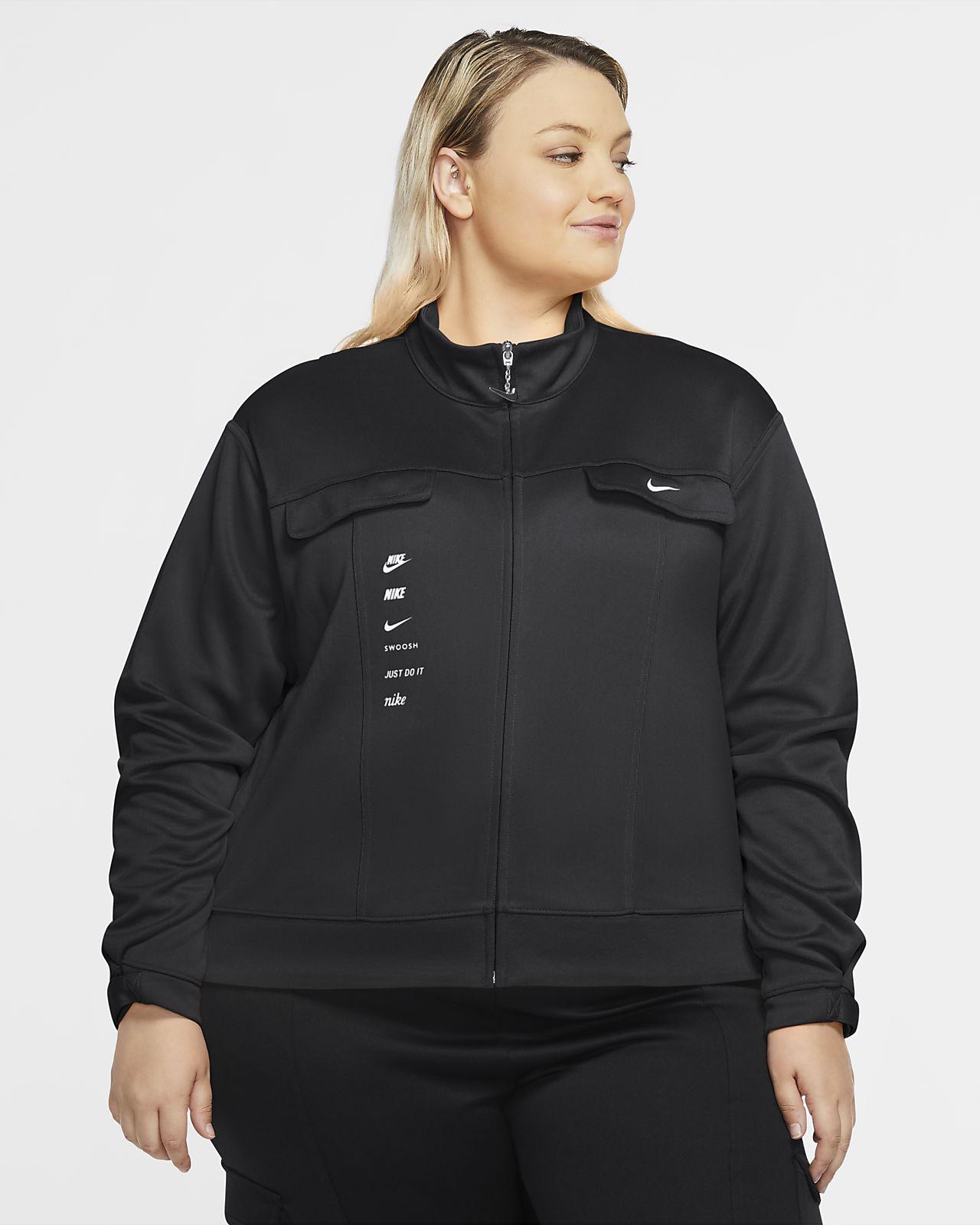 Γυναικείο τζάκετ από ύφασμα PolyKnit Nike Sportswear Swoosh (μεγάλα μεγέθη)