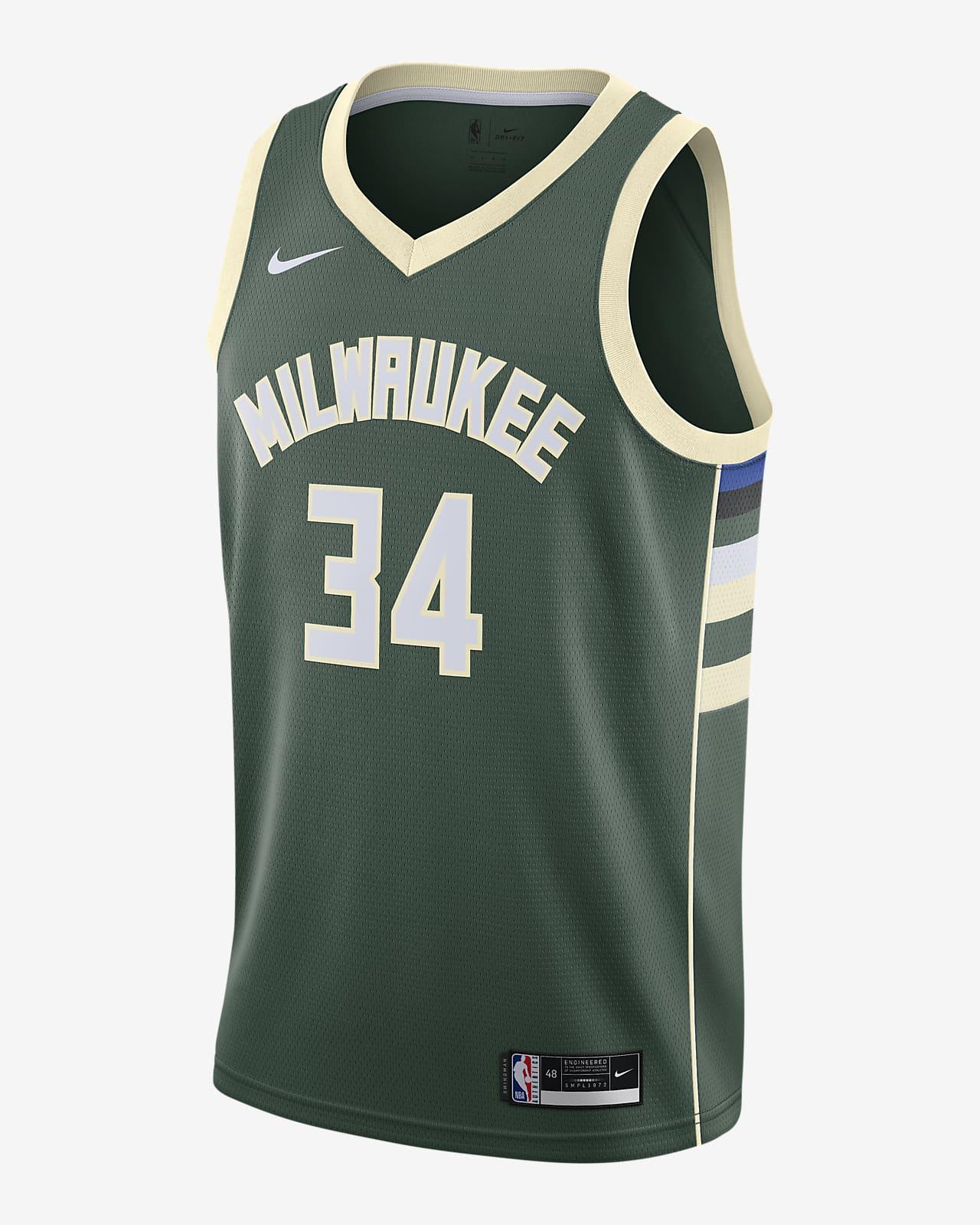 2020 赛季密尔沃基雄鹿队 (Giannis Antetokounmpo) Icon Edition Nike NBA Swingman Jersey 男子球衣
