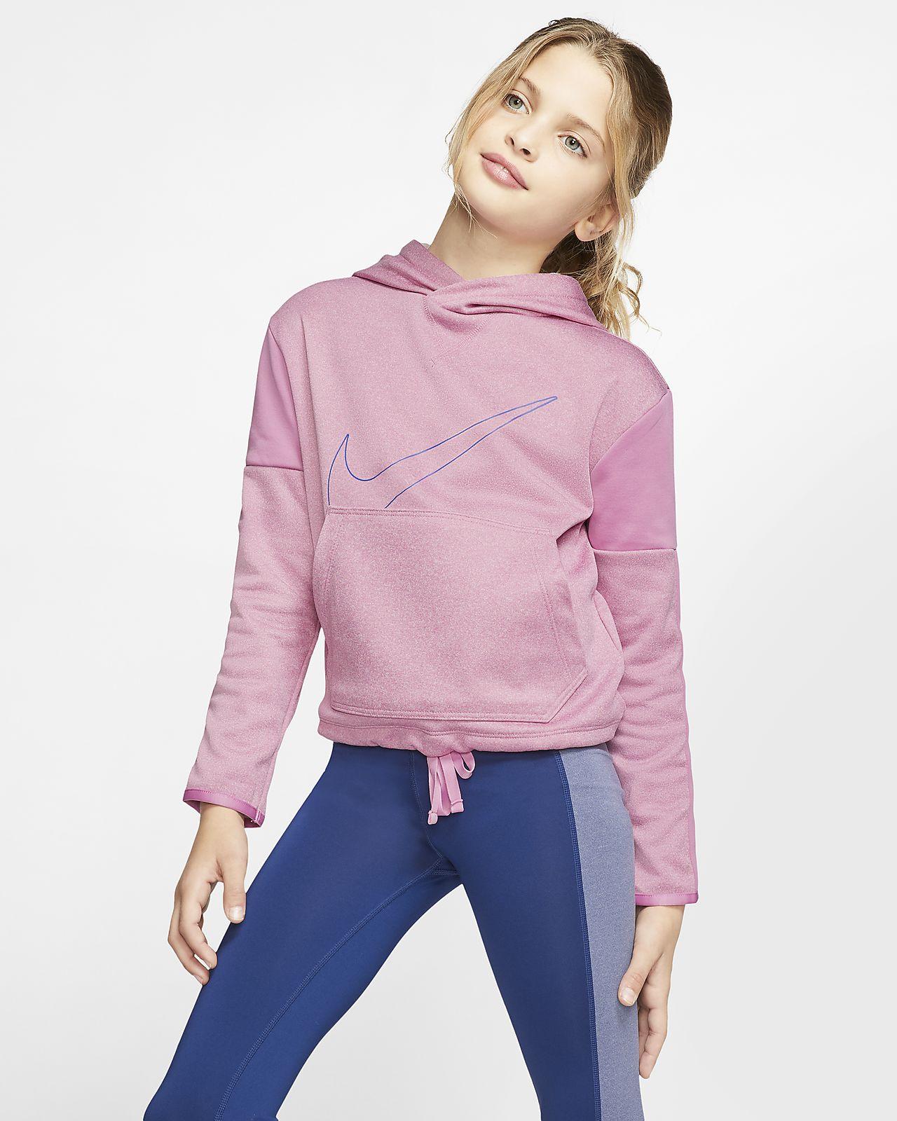 Felpa pullover da training con cappuccio e grafica Nike Therma - Bambina/Ragazza