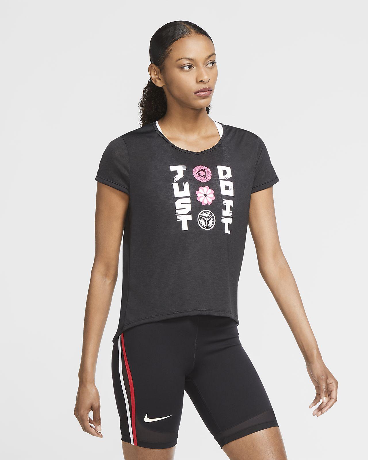 Prenda para la parte superior de running de manga corta para mujer Nike Icon Clash
