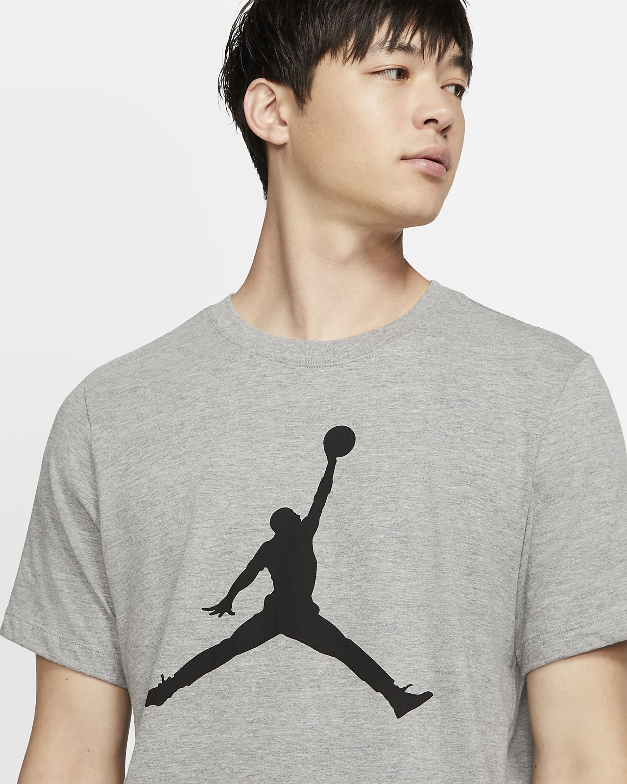 Nike Men Tshirts Air Jordan Iconic Air Jordan Logo Tee Black Heather
