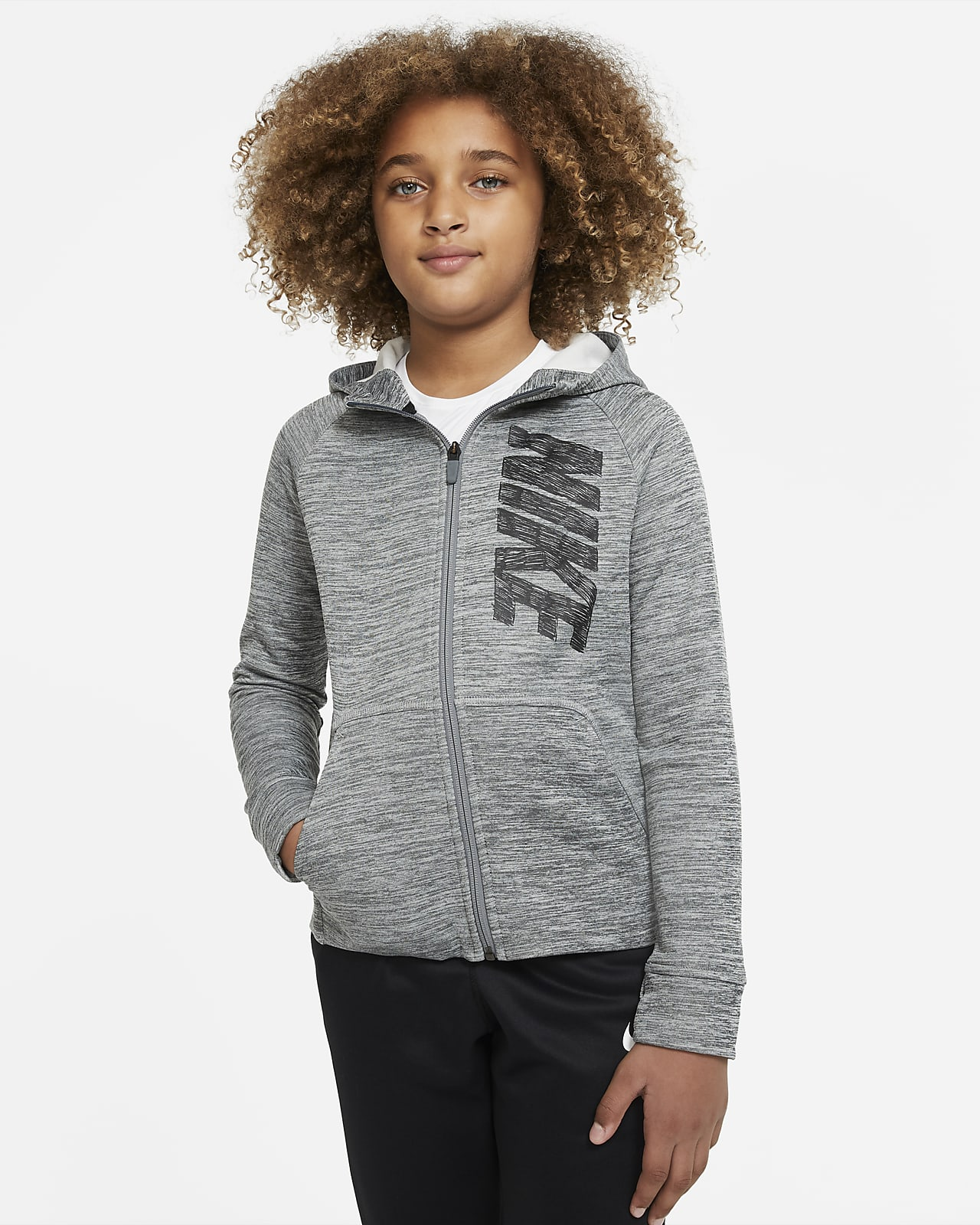 Sudadera con capucha de entrenamiento de cierre completo y gráficos para niño talla grande Nike Therma