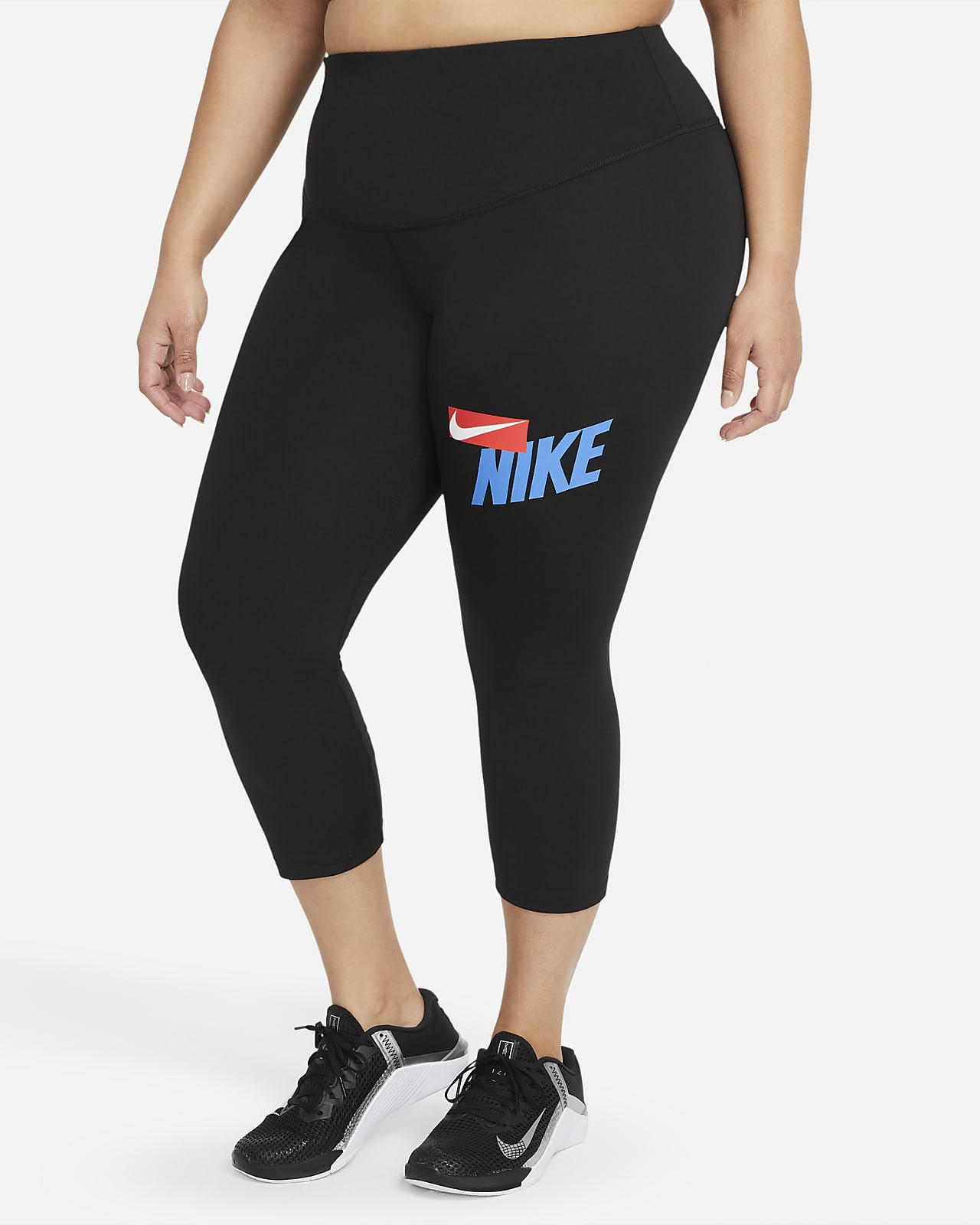 Nike One Women's Mid-Rise Cropped Graphic Leggings (Plus Size)