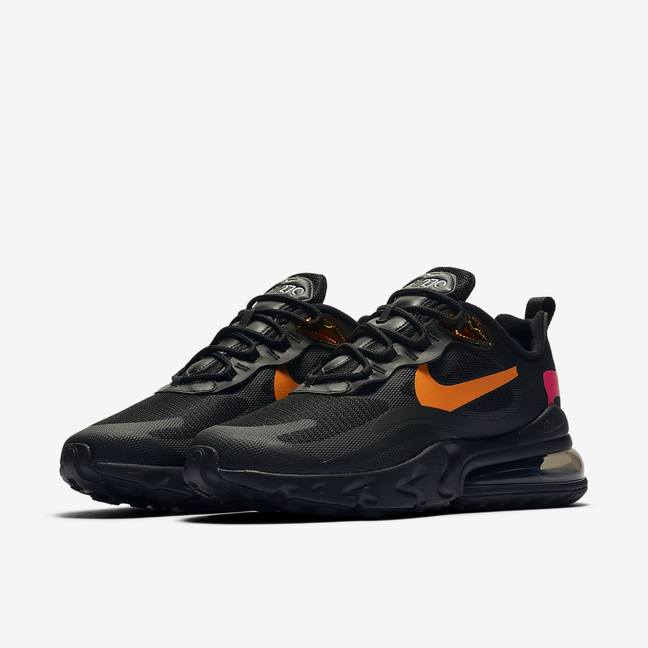 NIKE AIR MAX 270 BLACK ORANGE LEATHER MEN RUNNING SHOES