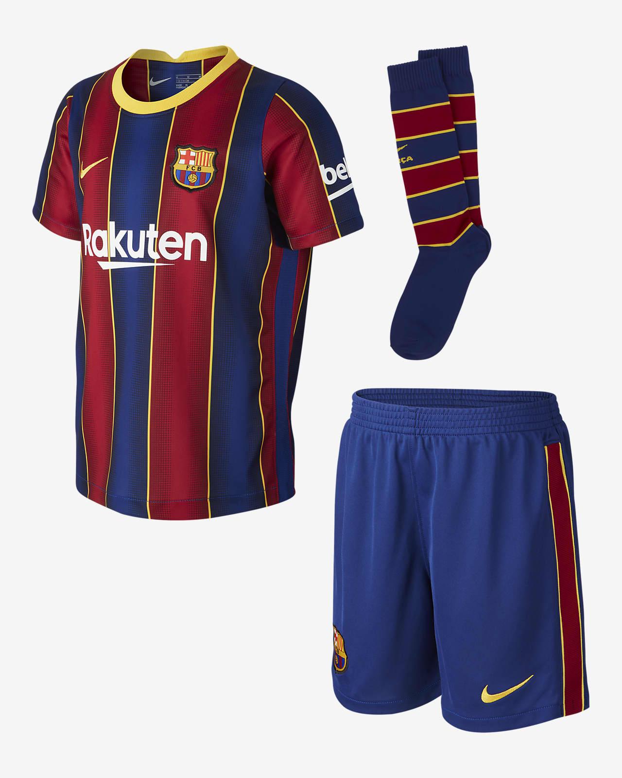 Kit de fútbol de local para niños talla pequeña del FC Barcelona 2020/21