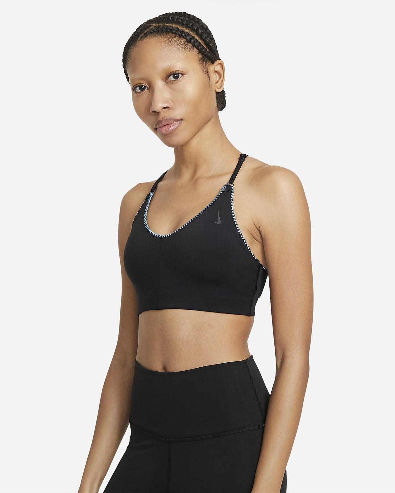 Vadderad sport-BH Nike Yoga Dri-FIT Indy med lätt stöd och broderade kanter