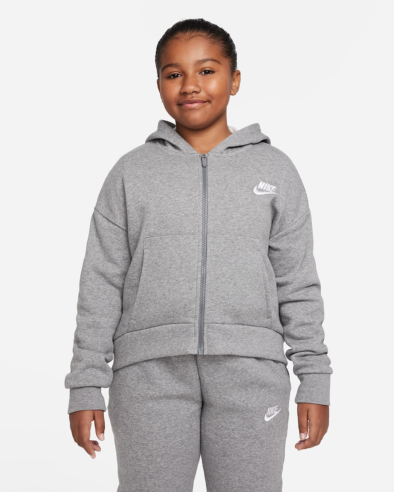 Sweat à capuche et à zip Nike Sportswear Club Fleece pour Fille plus âgée (taille étendue)