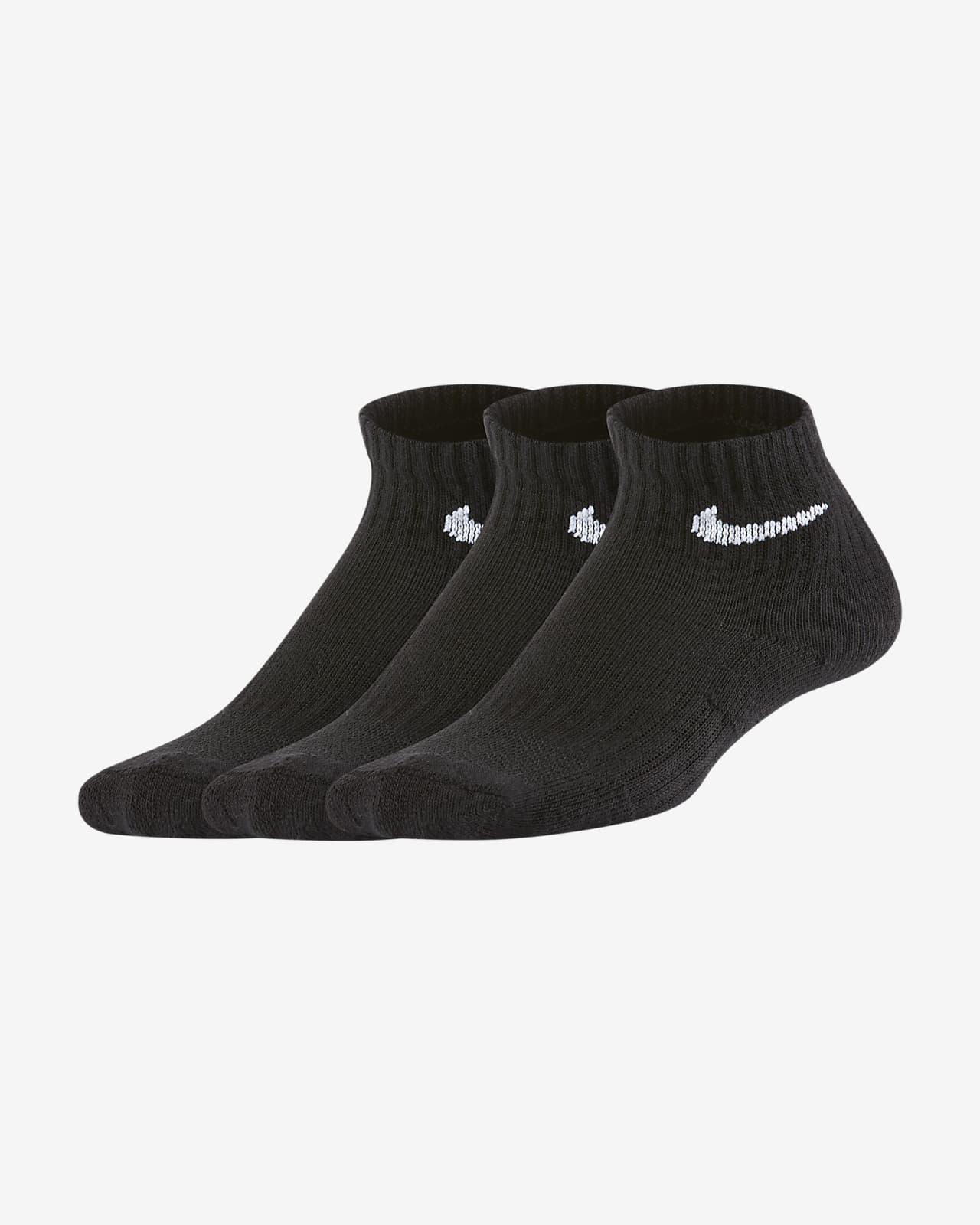 Meias pelo tornozelo com amortecimento Nike Everyday para criança (3 pares)