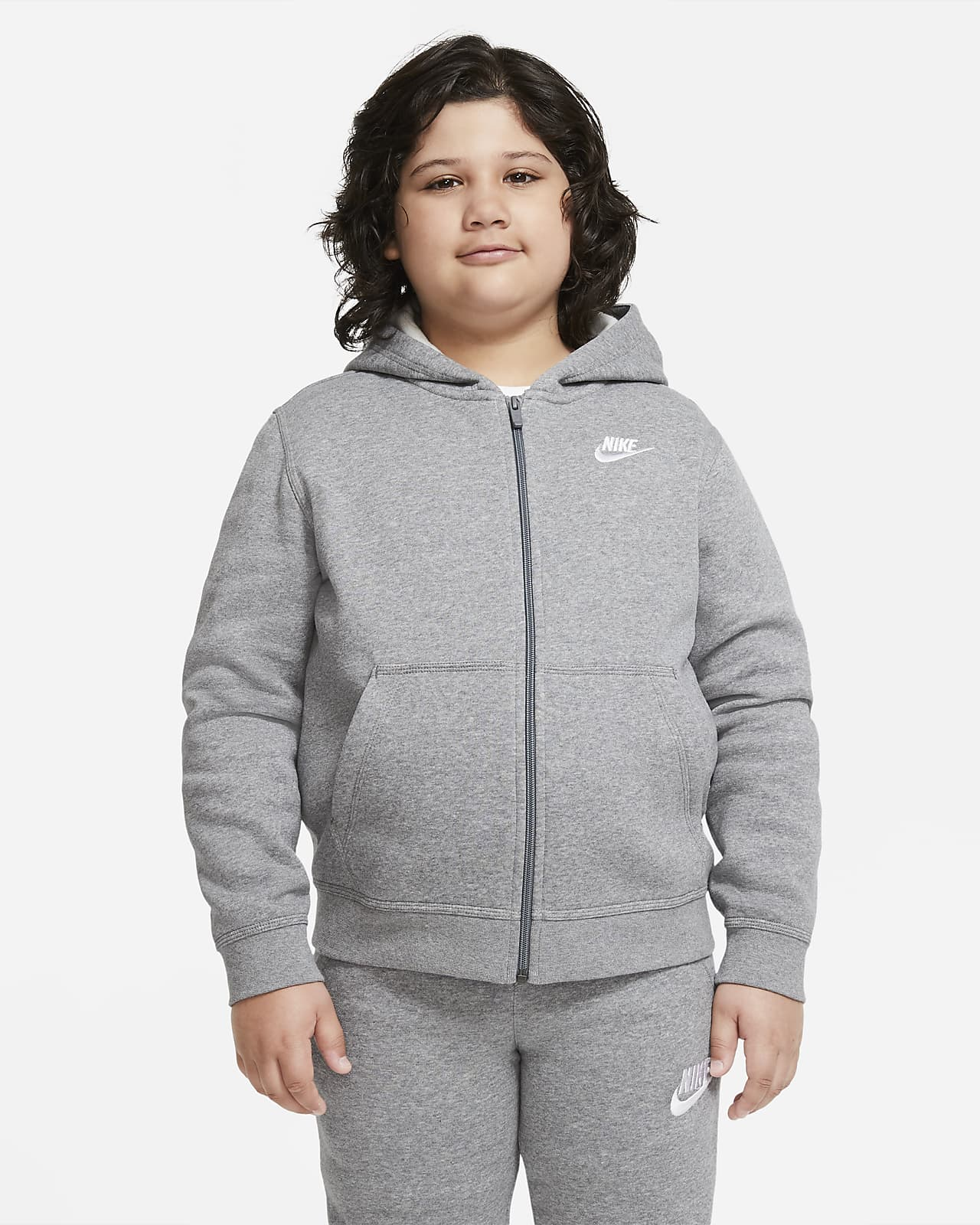 Nike Sportswear Club Fleece Big Kids' (Boys') Full-Zip Hoodie (Extended Size)