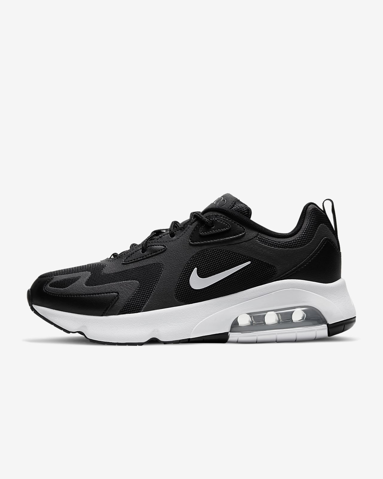 nike air max 200 trainers in black and white