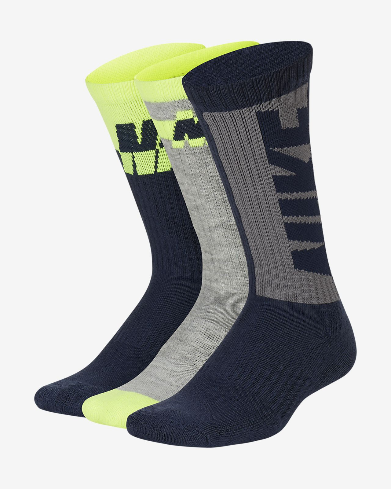 Nike Everyday Big Kids' Cushioned Crew Socks (3 Pairs)