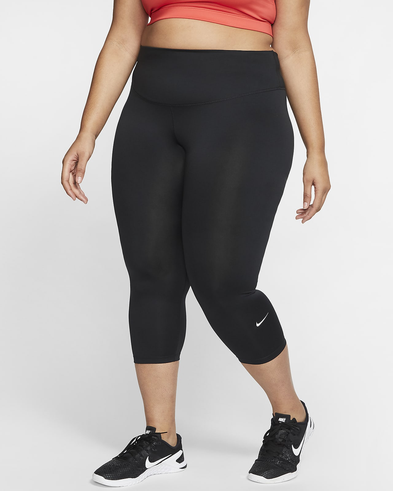 Nike One Crop-Leggings mit mittelhohem Bund für Damen (große Größe)
