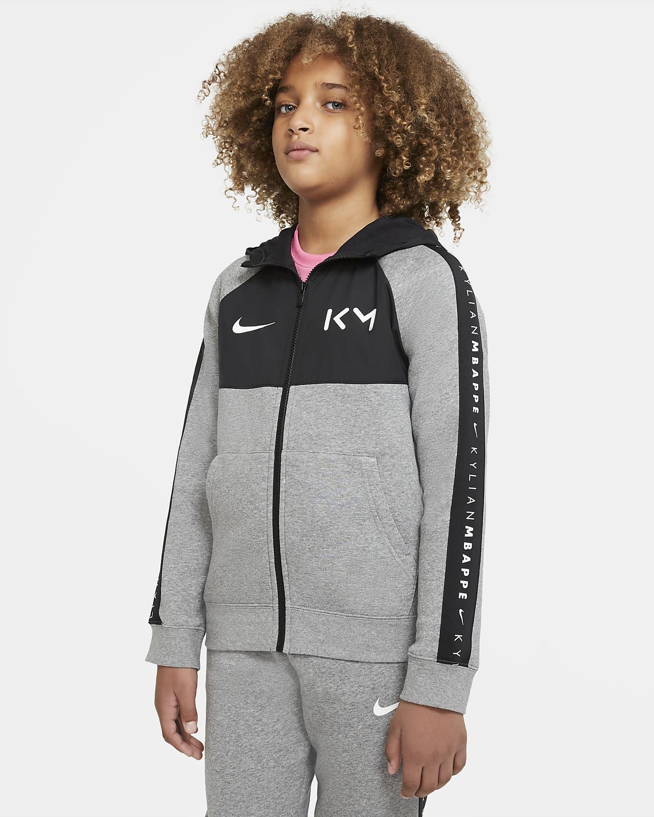 Kylian Mbappé Big Kids' Full-Zip Fleece Soccer Hoodie