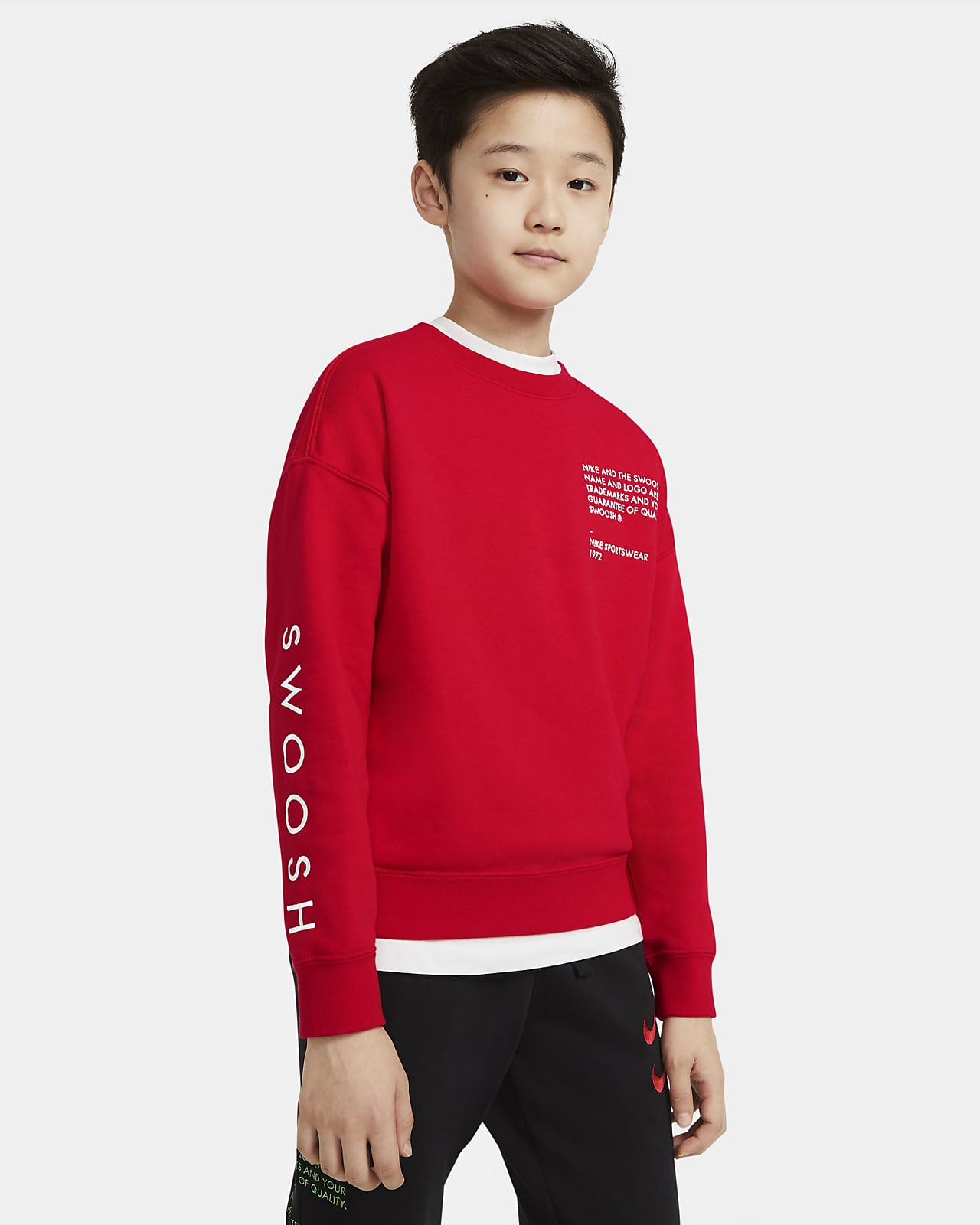Sudadera de cuello redondo para niño talla grande Nike Sportswear Swoosh