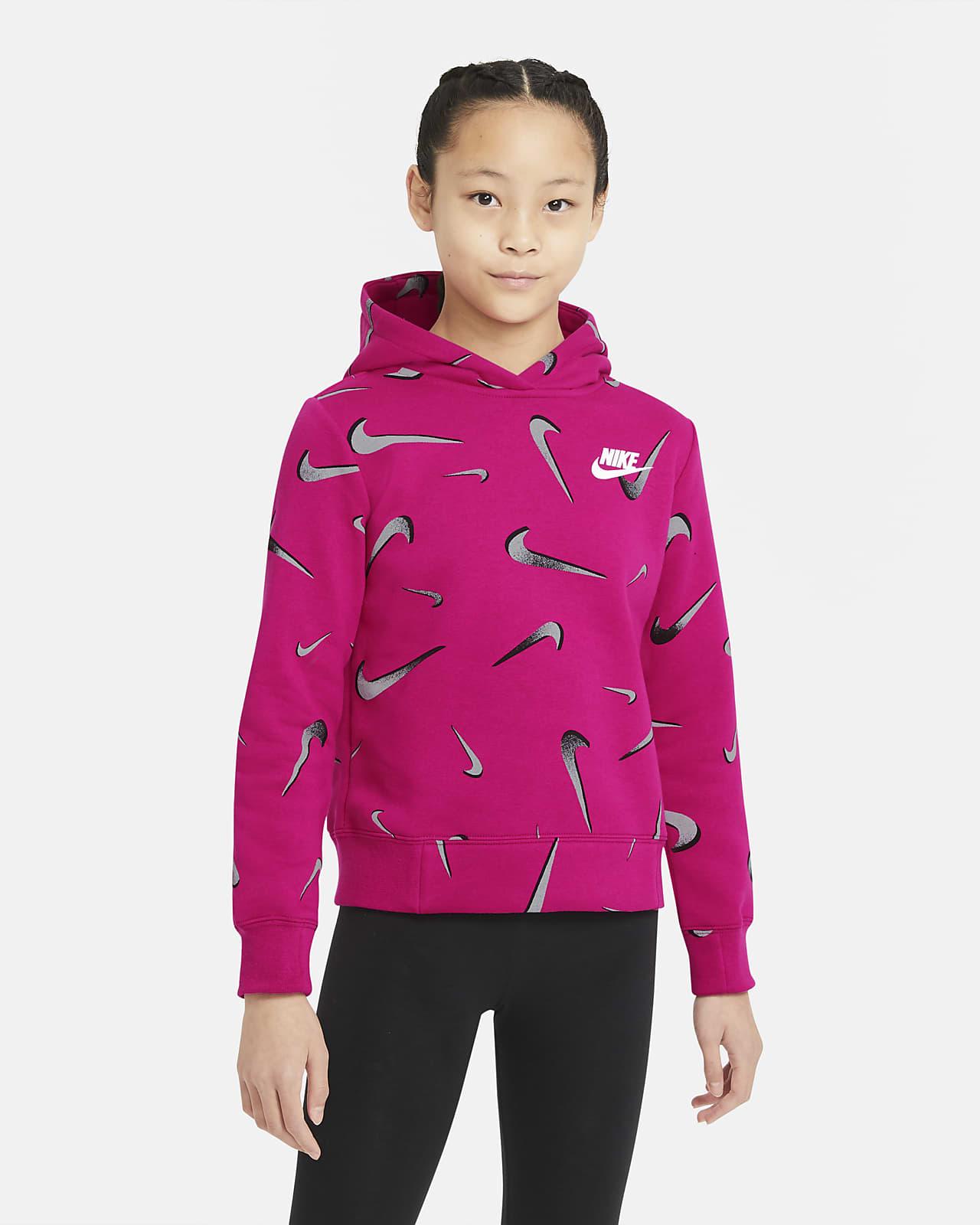 Nike Sportswear mintás kapucnis pulóver nagyobb gyerekeknek (lányok)