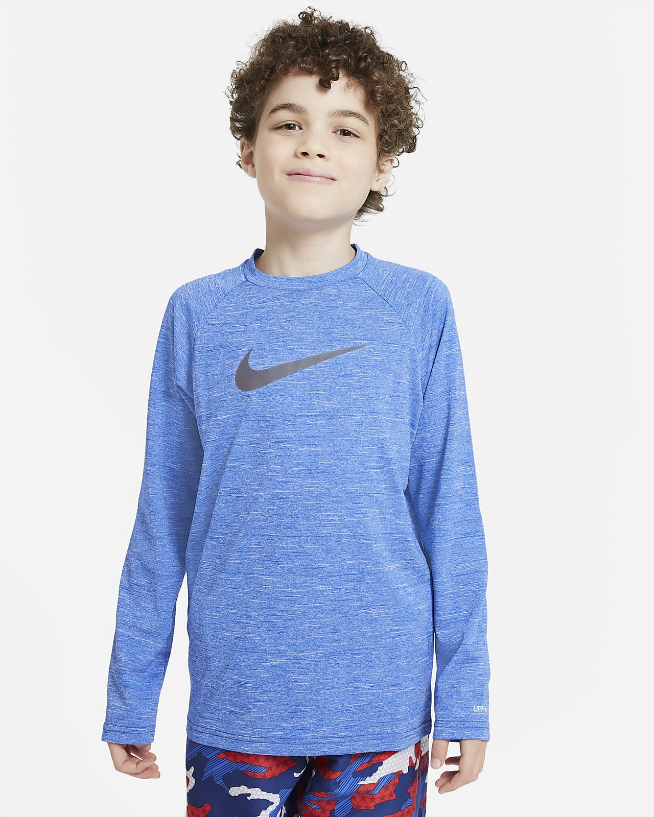 Nike Heather Big Kids' (Boys') Long-Sleeve Hydroguard Swim Shirt