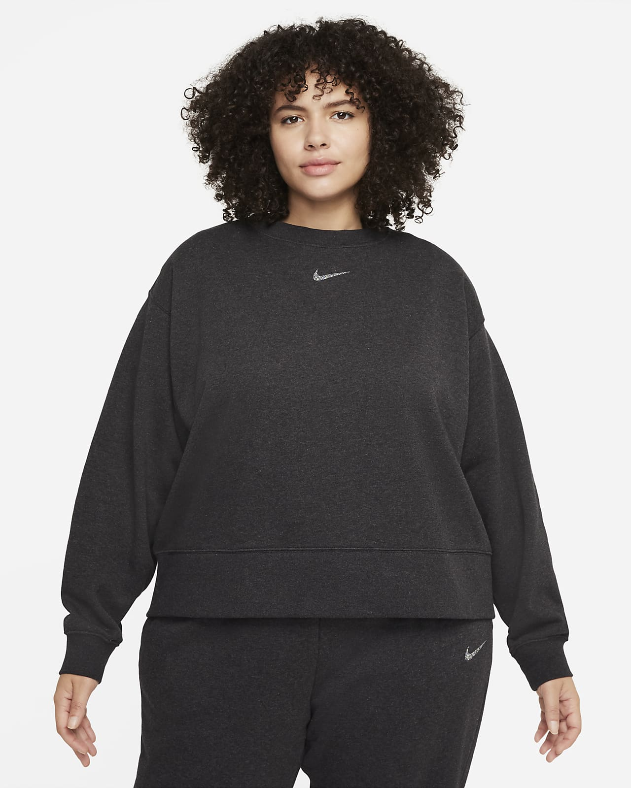 Camisola de lã cardada com corte folgado Nike Sportswear Collection Essentials para mulher (tamanhos Plus)