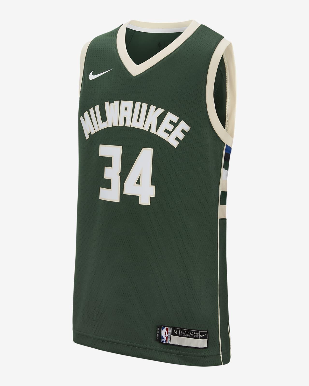 Camisola NBA da Nike Icon Edition Swingman Jersey (Milwaukee Bucks) Júnior