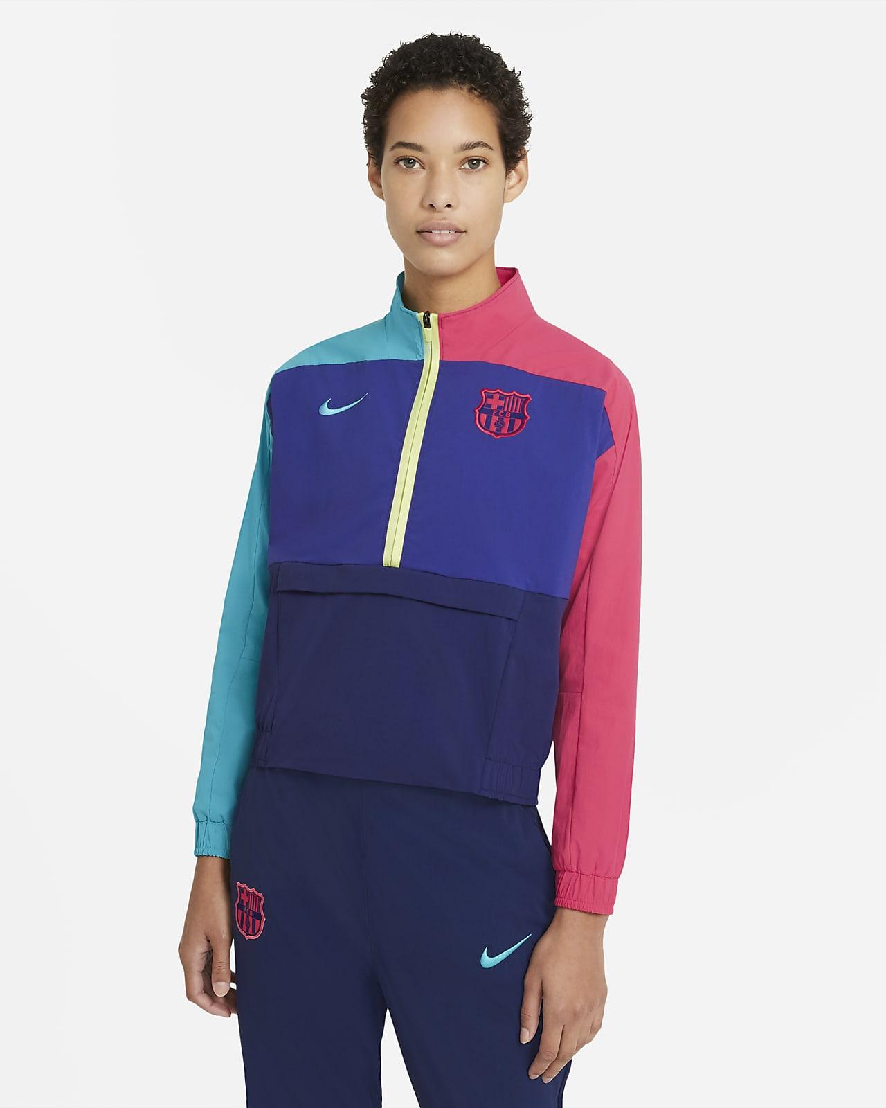 Haut intermédiaire de football à 1/4 de zip FC Barcelona pour Femme