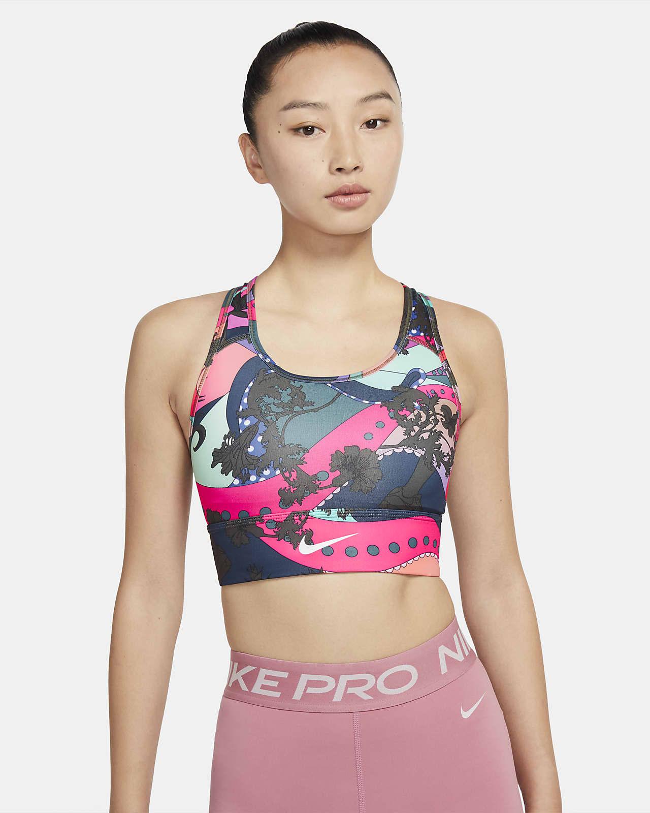 สปอร์ตบราผู้หญิงซัพพอร์ตระดับกลาง Nike Swoosh Icon Clash