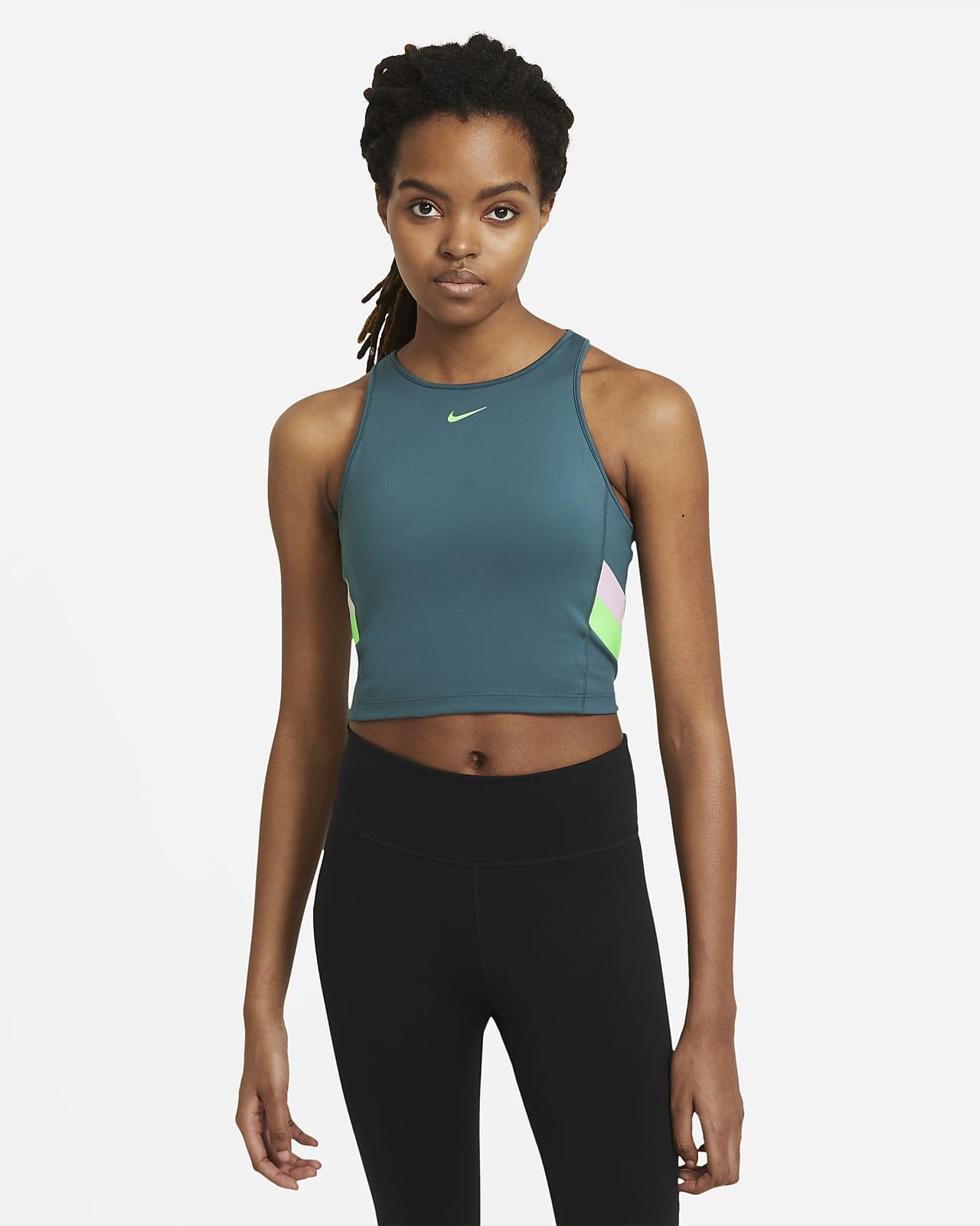 Débardeur court de training Nike à rayures color-block pour Femme
