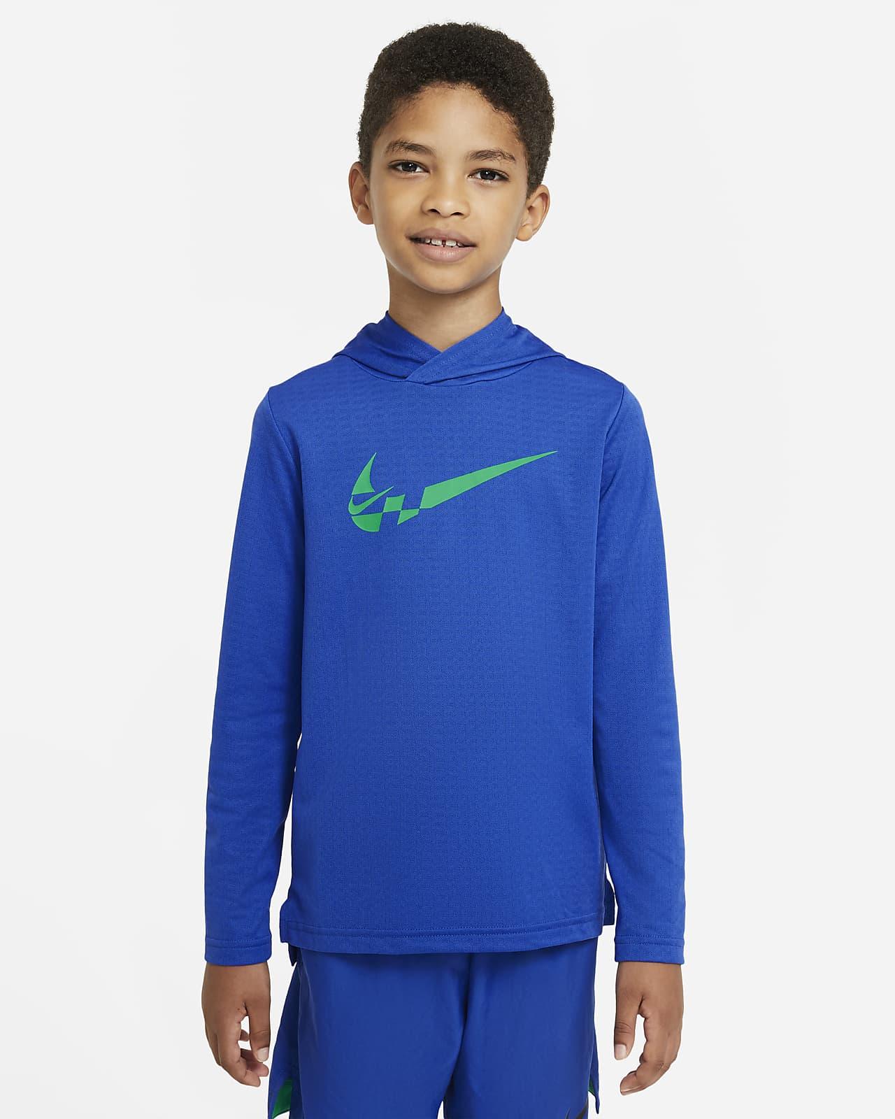Parte superior de entrenamiento con capucha de manga larga para niños talla grande Nike