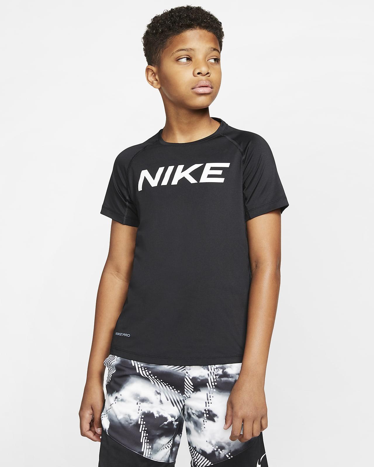 Nike Pro-træningsoverdel med korte ærmer til store børn (drenge)