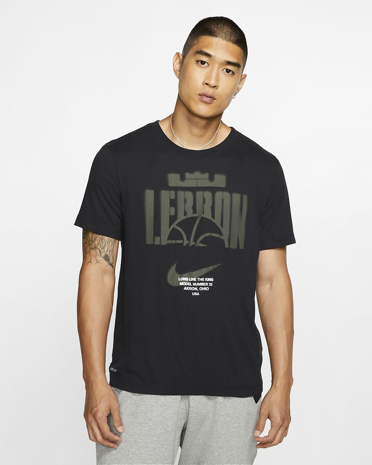 NIKE Dark gray Striped Dri Fit Touch Hoodie Shirt