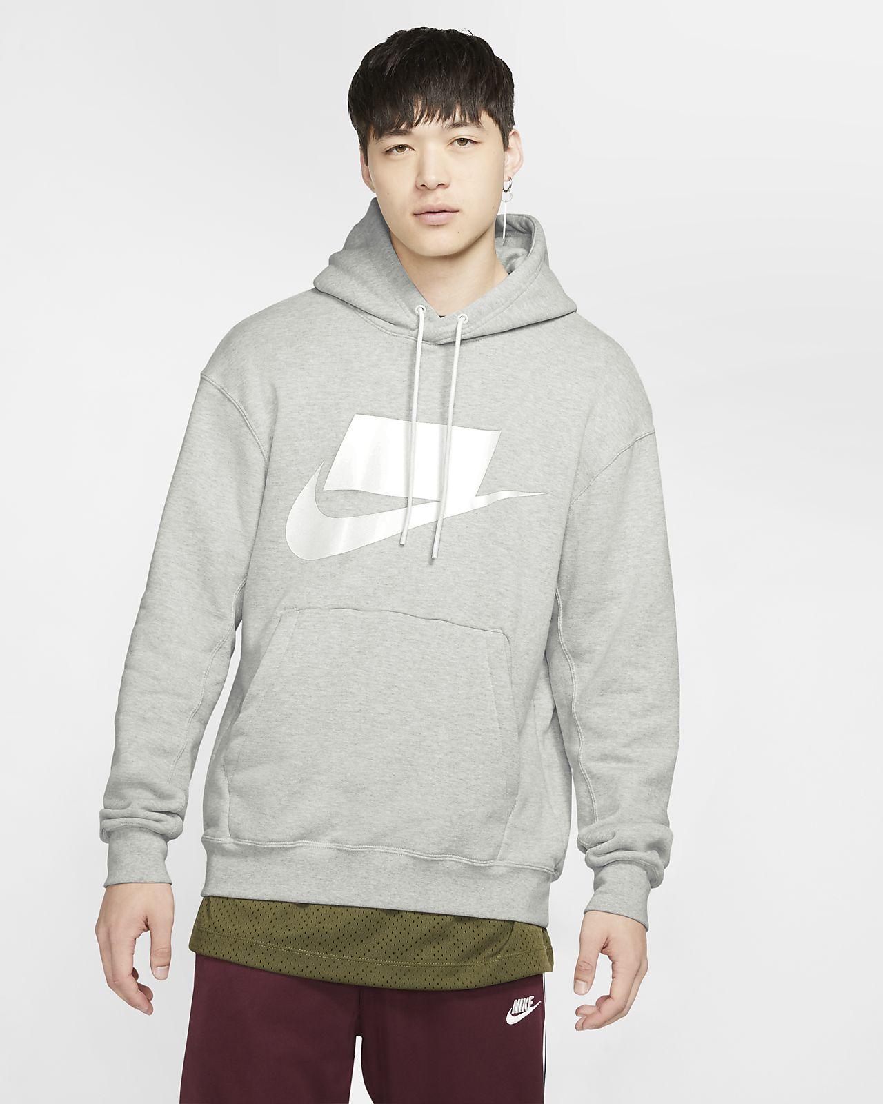 nike hoodie logo grey