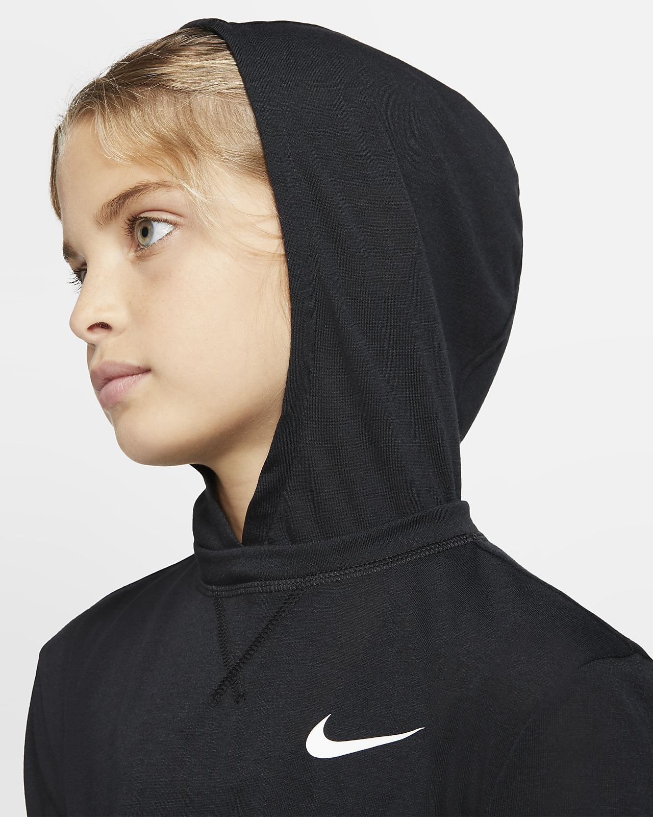 Nike Girls Dri Fit Long Sleeve Hooded Training Top