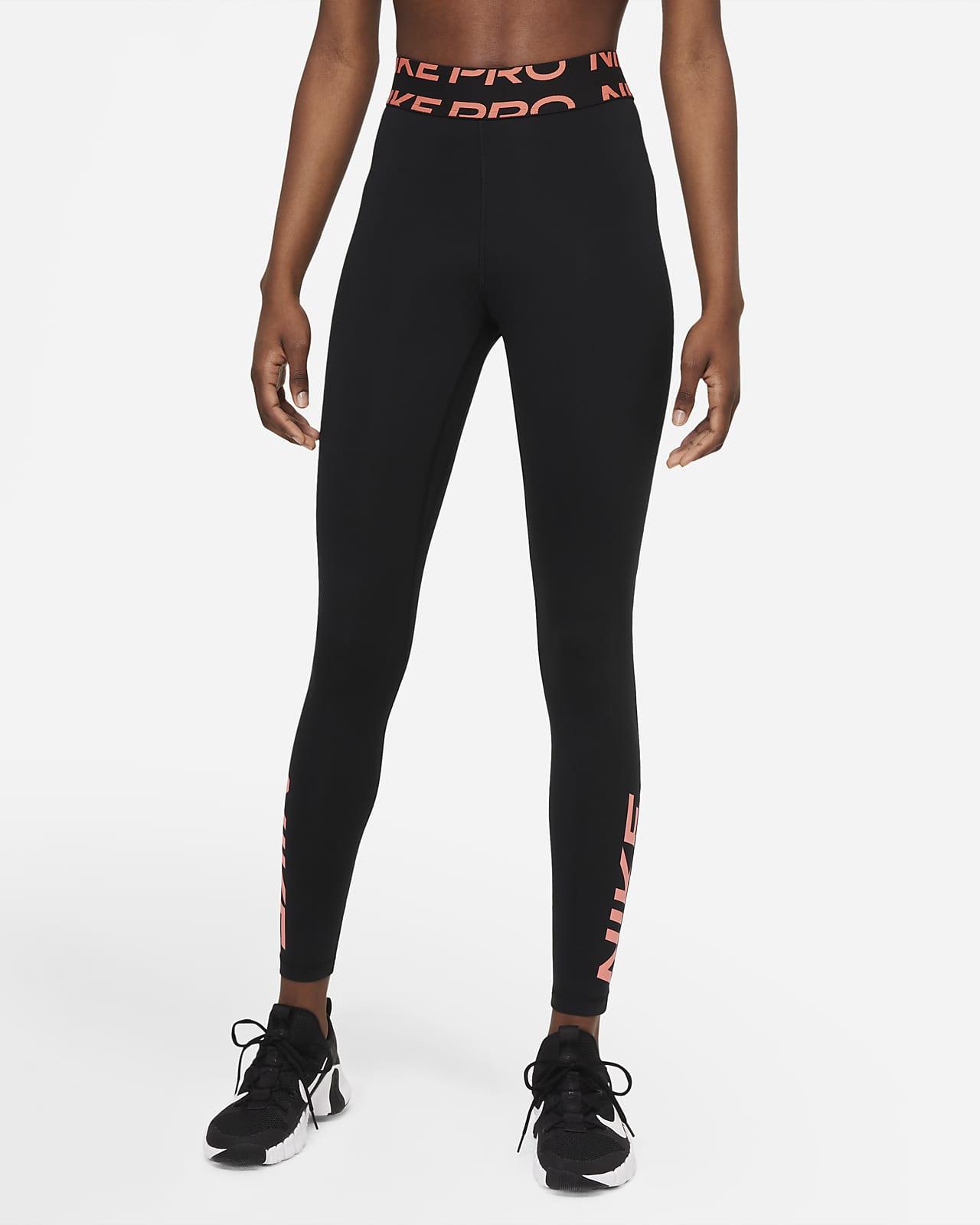 Nike Pro Dri-FIT-leggings med mellemhøj talje og grafik til kvinder