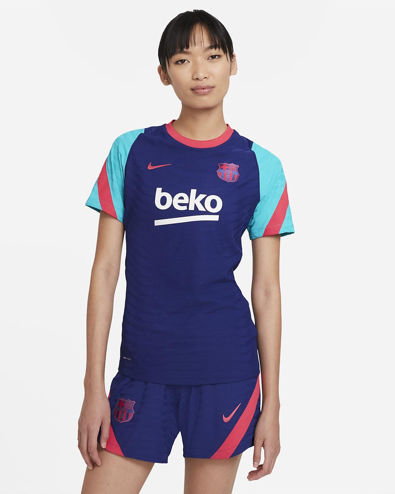 Camiseta de fútbol de manga corta para mujer FC Barcelona VaporKnit Strike