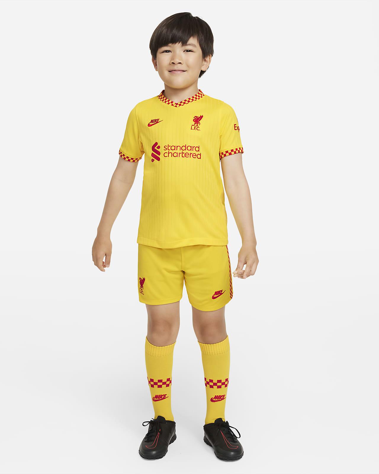 Liverpool FC 2021/22 harmadik Nike Dri-FIT futballszett gyerekeknek