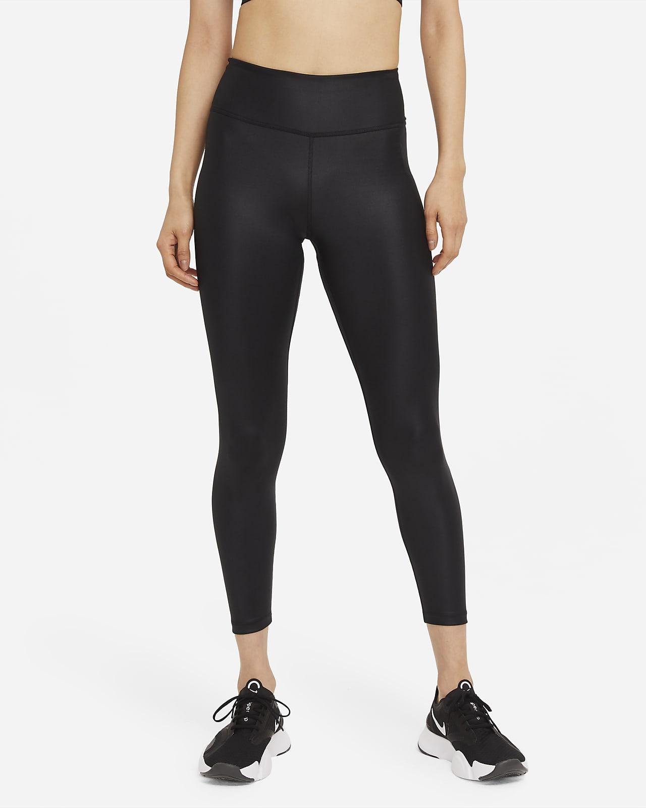 Nike One Women's Mid-Rise 7/8 Faux-Leather Leggings.