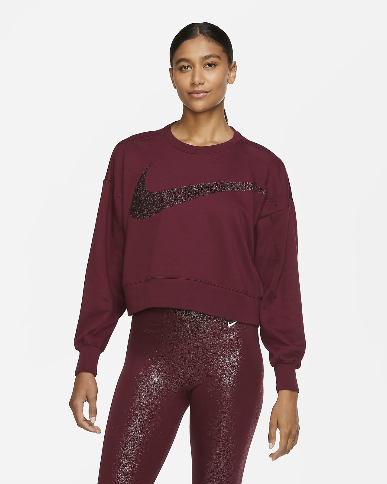 Top da training in fleece scintillante Nike Dri-FIT Get Fit - Donna