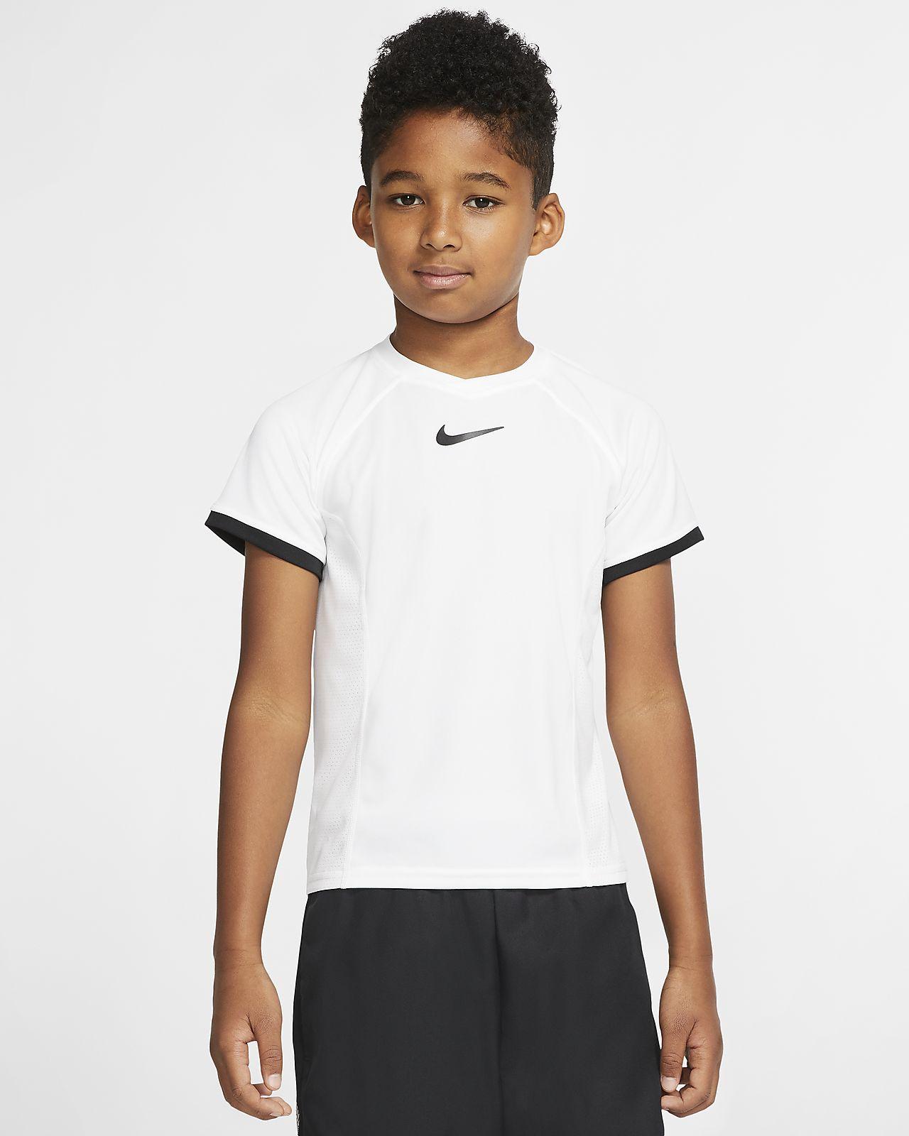 Playera de tenis manga corta para niño talla grande NikeCourt Dri-FIT