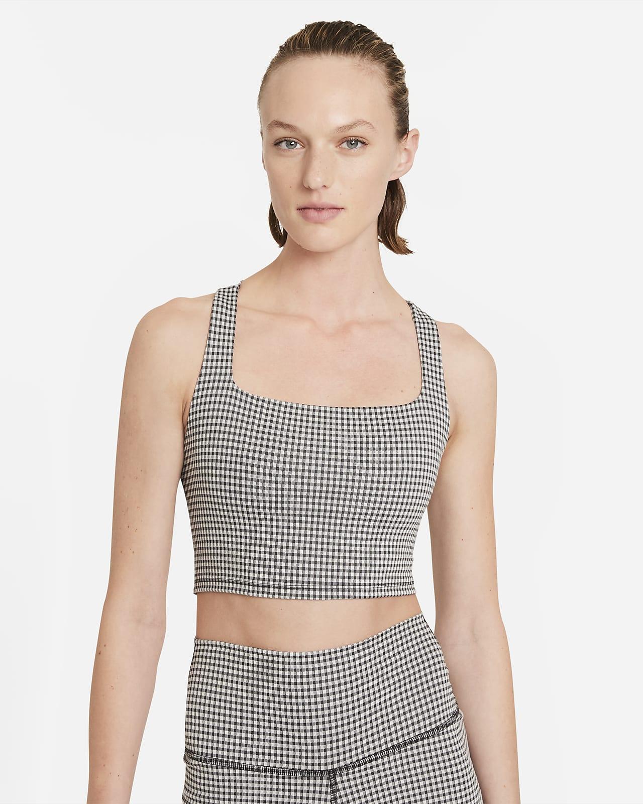 Camiseta de tirantes a cuadros corta para mujer Nike Yoga